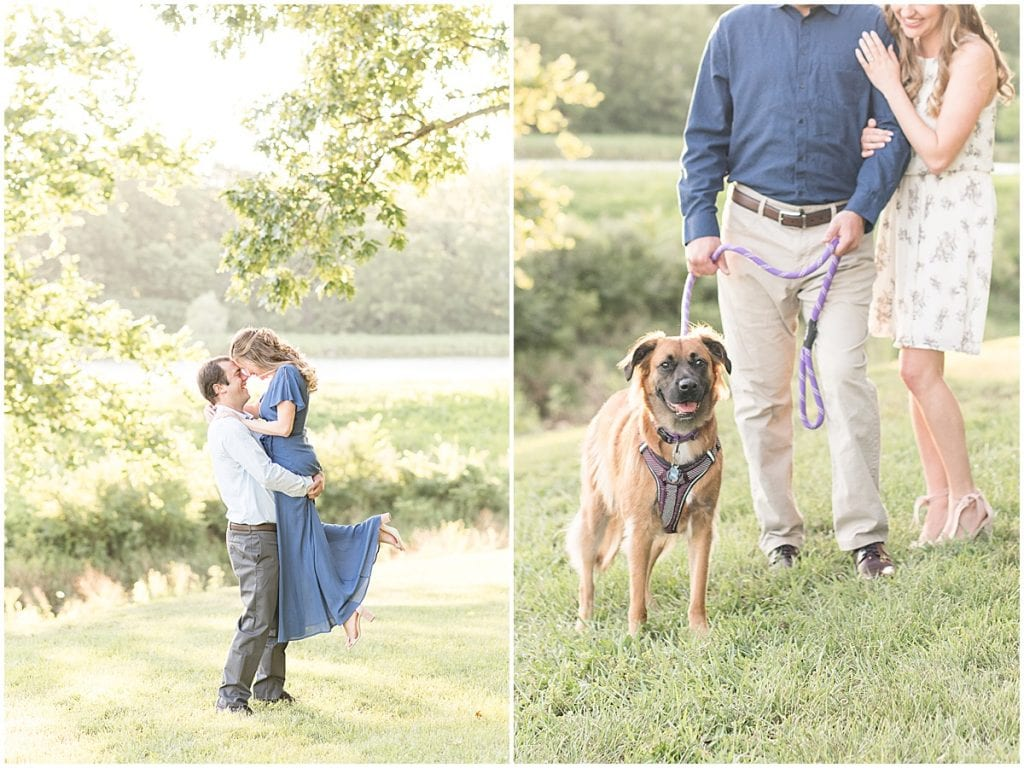 Engaged couple with dog in Lakefront engagement photos in Lafayette, Indiana