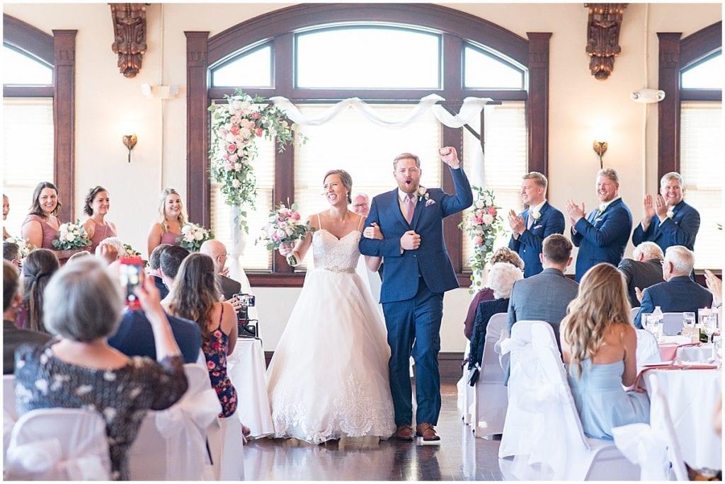 Groom cheering at Spohn Ballroom wedding in Goshen, Indiana