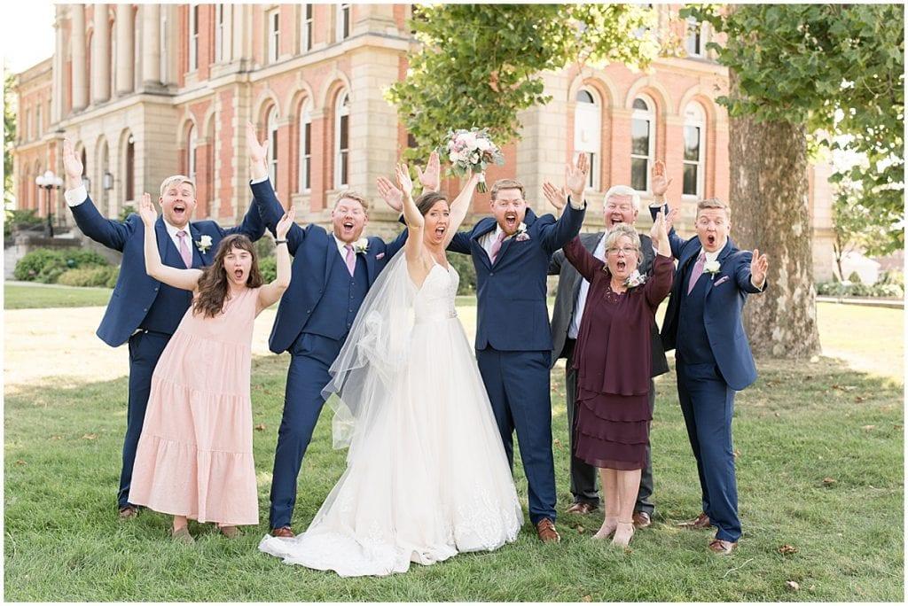 Family portraits at Spohn Ballroom wedding in Goshen, Indiana