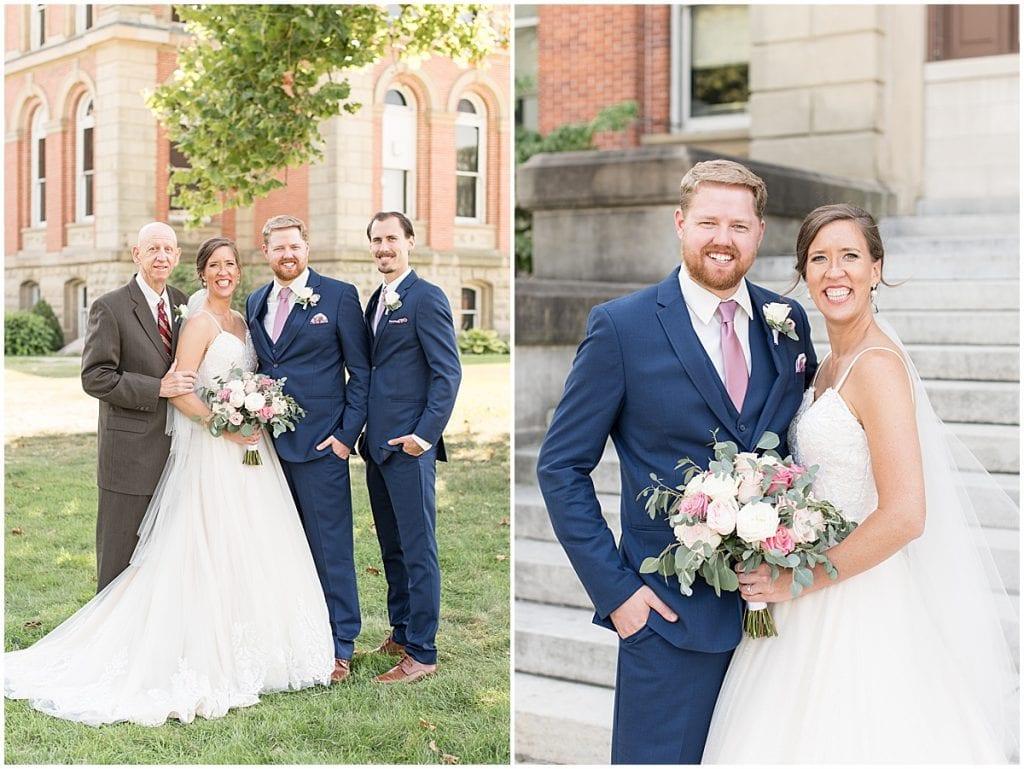 Family portraits from Spohn Ballroom wedding in Goshen, Indiana
