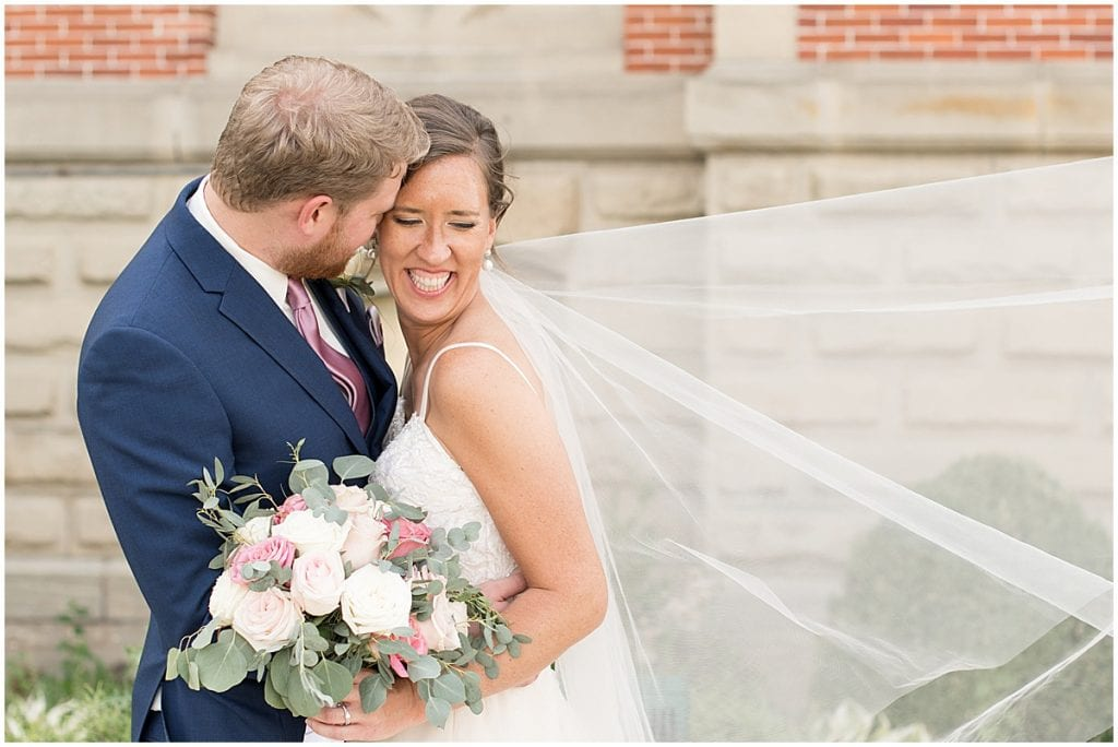 Couple after ceremony at Spohn Ballroom wedding in Goshen, Indiana