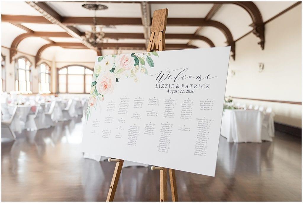 Seating chart of Spohn Ballroom wedding in Goshen, Indiana