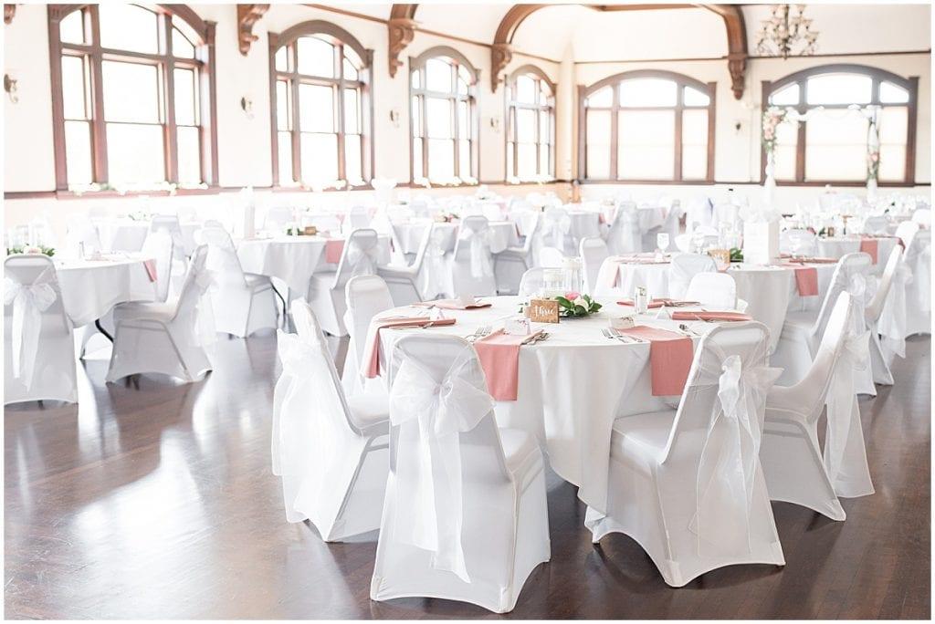 Reception tables at Spohn Ballroom wedding in Goshen, Indiana