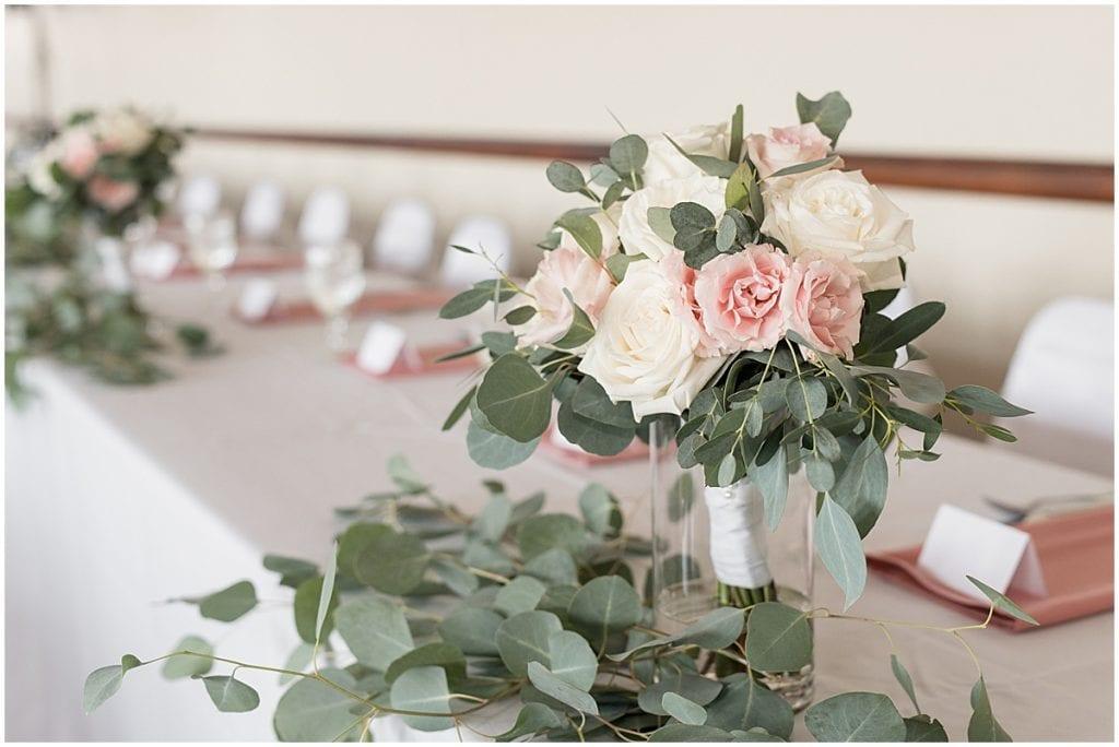 Bouquet details of Spohn Ballroom wedding in Goshen, Indiana