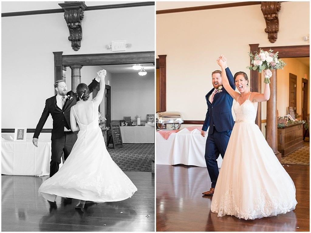 Newlywed entry to reception at Spohn Ballroom wedding in Goshen, Indiana