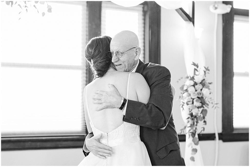 Father daughter dance at Spohn Ballroom wedding in Goshen, Indiana