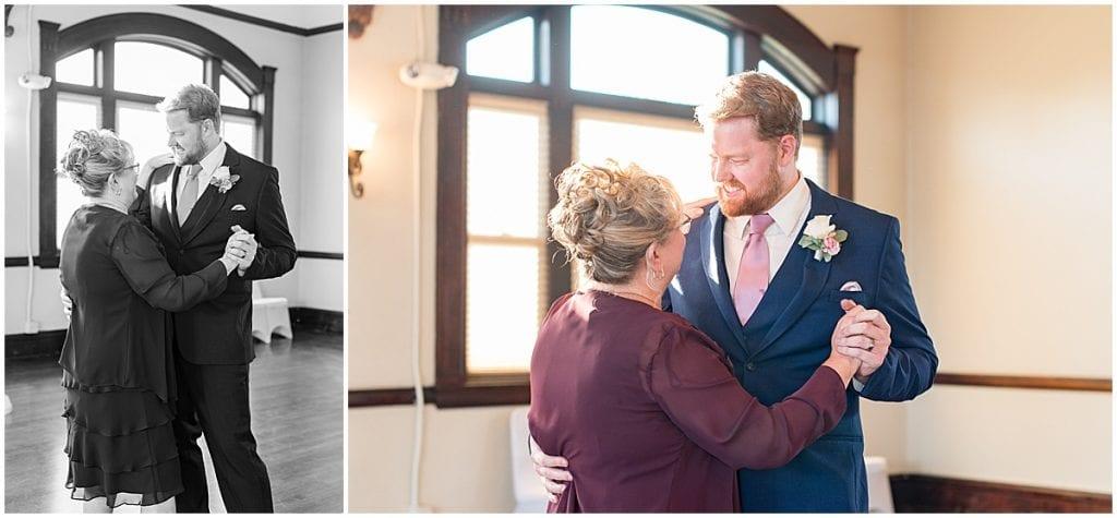 Groom and mother dancing at Spohn Ballroom wedding in Goshen, Indiana
