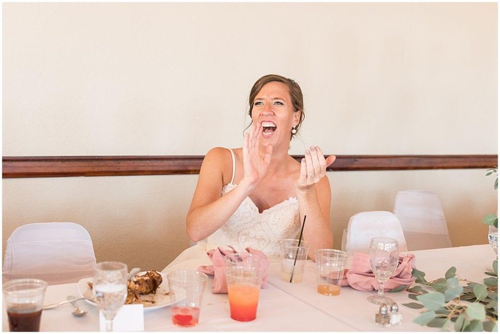 Bride reaction to dancing at Spohn Ballroom wedding in Goshen, Indiana