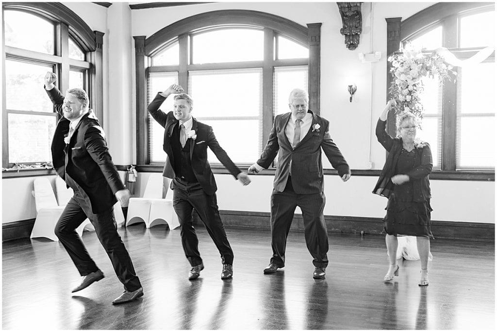 Family dancing at Spohn Ballroom wedding in Goshen, Indiana
