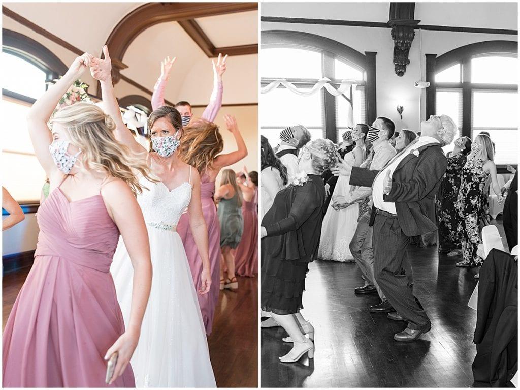 Wedding party dancing at Spohn Ballroom wedding in Goshen, Indiana