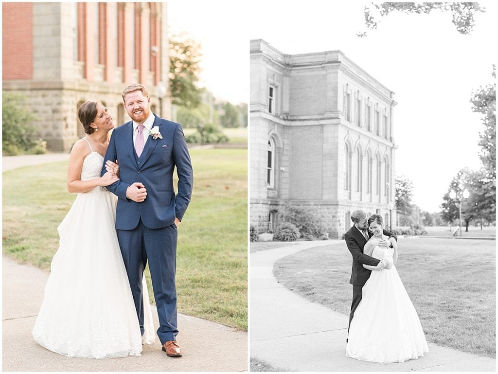 Groom and bride at Spohn Ballroom wedding in Goshen, Indiana