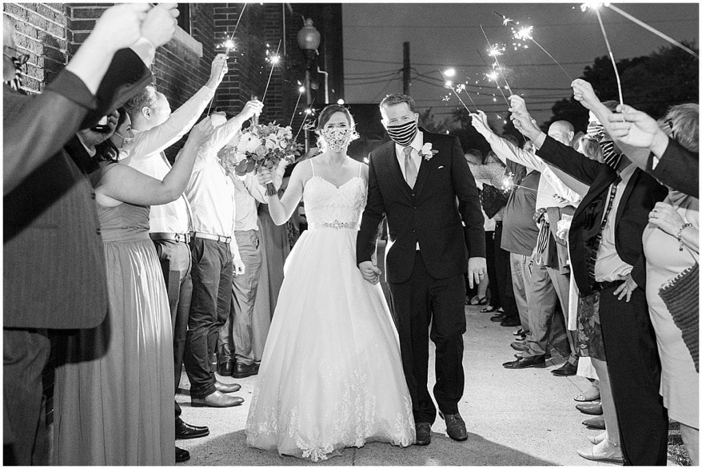 Sparkler exit from Spohn Ballroom wedding in Goshen, Indiana