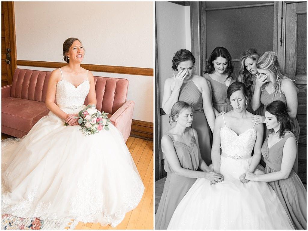 Bride before ceremony at Spohn Ballroom wedding in Goshen, Indiana