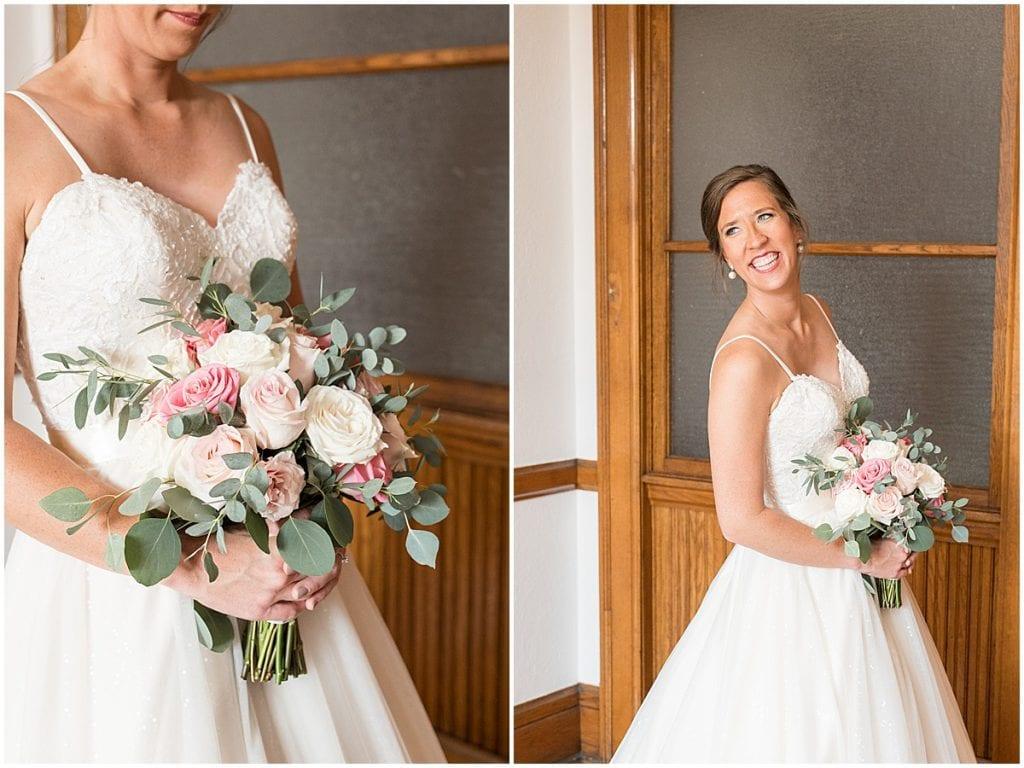 Bride getting ready at Spohn Ballroom wedding in Goshen, Indiana