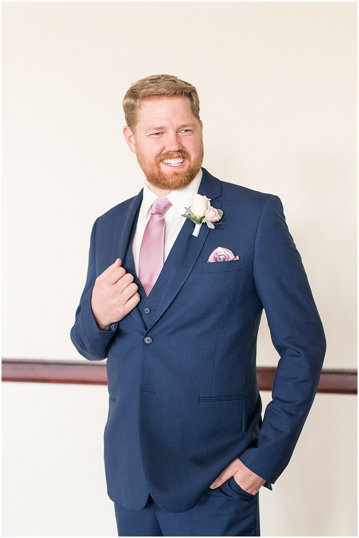 Groom at Spohn Ballroom wedding in Goshen, Indiana