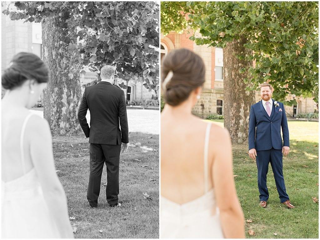 First look of Spohn Ballroom wedding in Goshen, Indiana