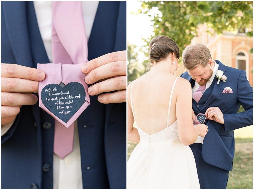 Groom tie details from Spohn Ballroom wedding in Goshen, Indiana