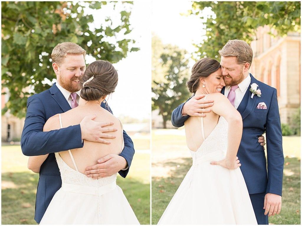 Couple in love at Spohn Ballroom wedding in Goshen, Indiana