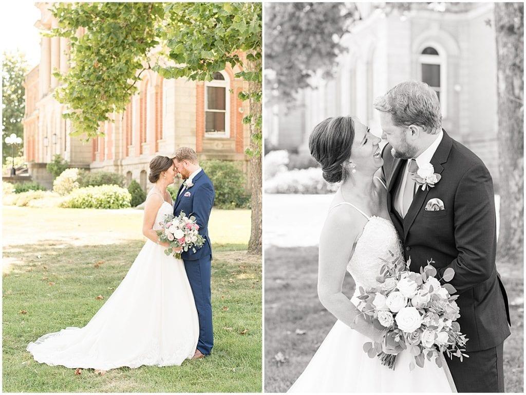 Bride and groom at Spohn Ballroom wedding in Goshen, Indiana