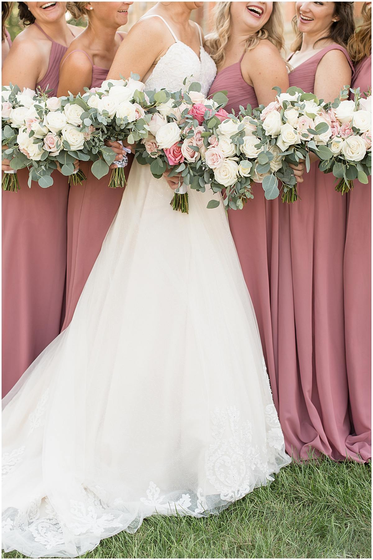 Wedding bouquets at Spohn Ballroom wedding in Goshen, Indiana