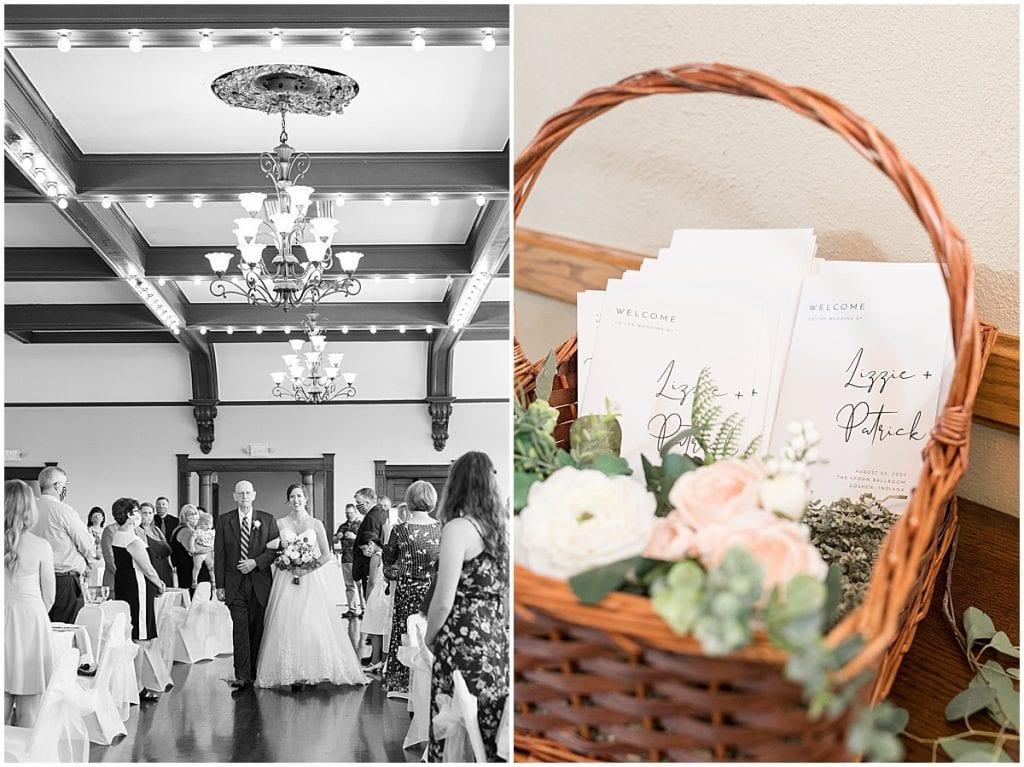 Ceremony details at Spohn Ballroom wedding in Goshen, Indiana