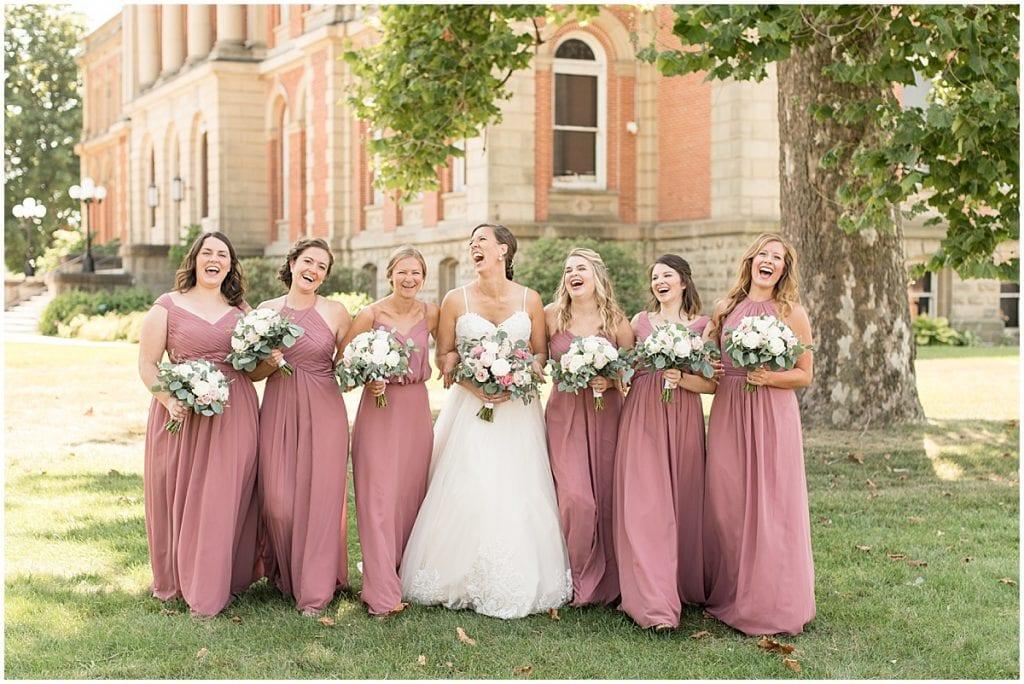 Bridesmaids at Spohn Ballroom wedding in Goshen, Indiana
