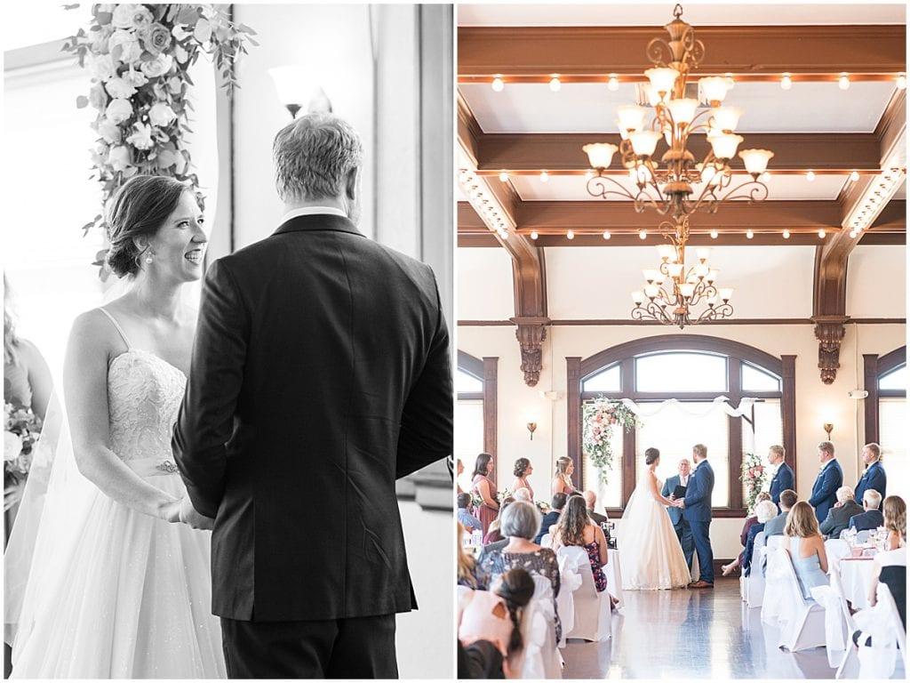Ceremony at Spohn Ballroom wedding in Goshen, Indiana