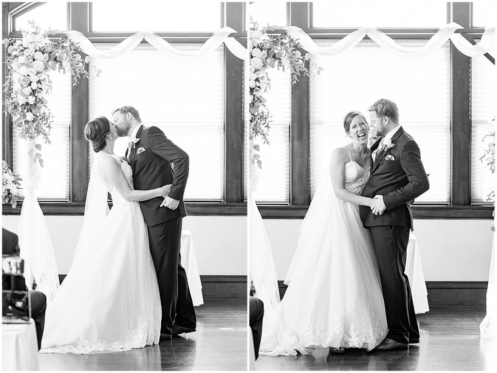 First kiss at Spohn Ballroom wedding in Goshen, Indiana