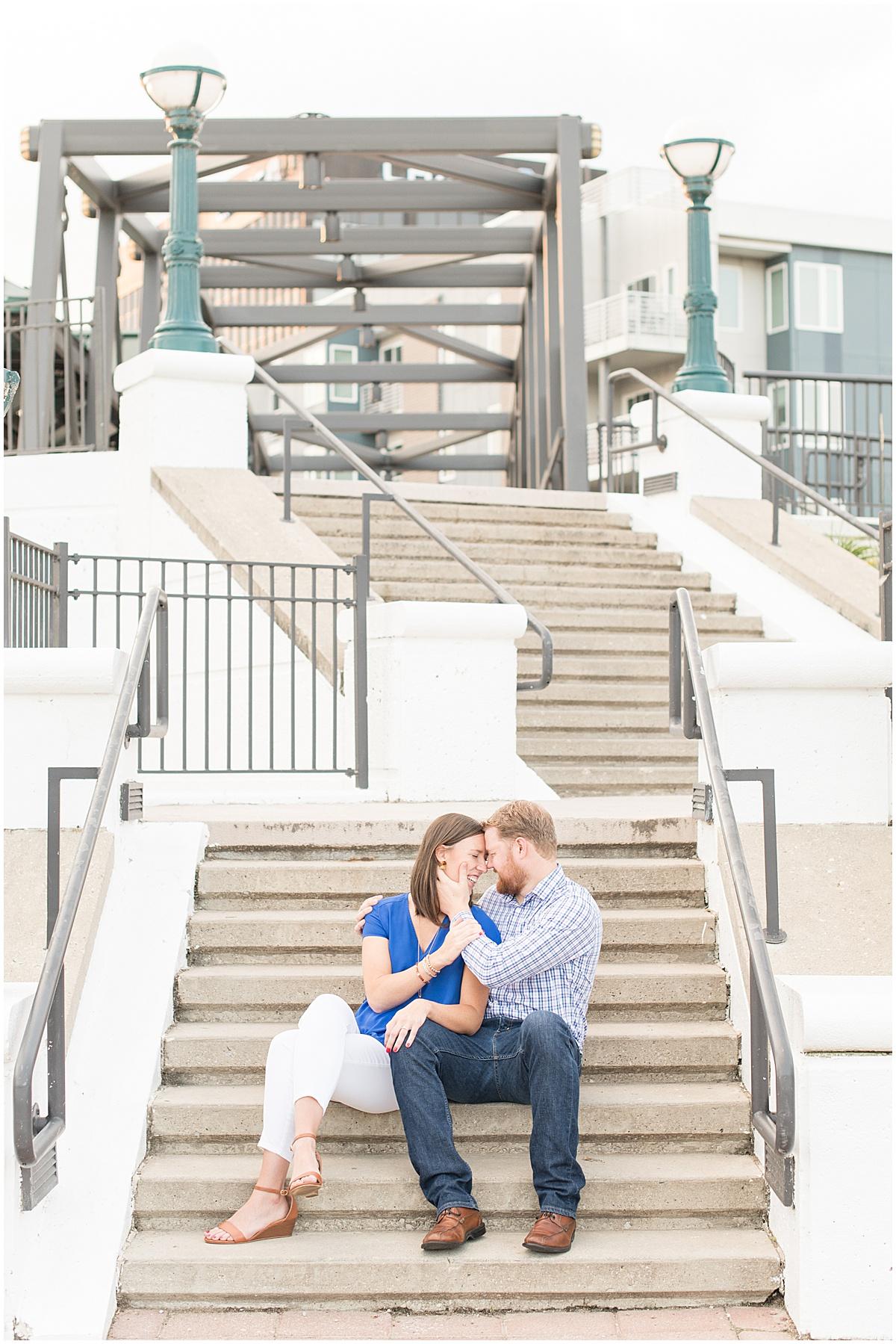 Sunrise engagement photos on the John T. Myers Pedestrian Bridge in Lafayette, Indiana