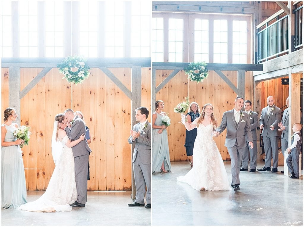 Indoor wedding ceremony at Whippoorwill Hill in Bloomington, Indiana