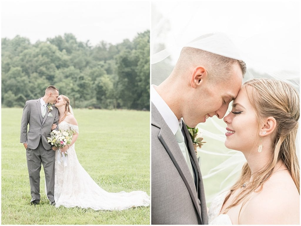 Bride and groom photos at wedding at Whippoorwill Hill in Bloomington, Indiana