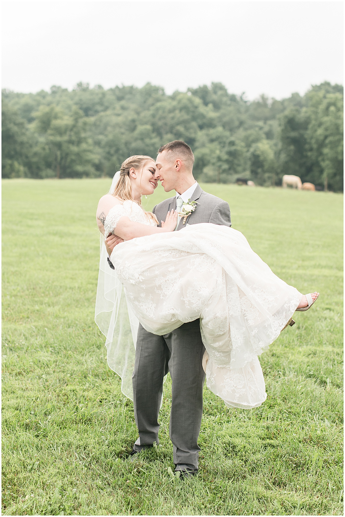 Bride and groom at wedding at Whippoorwill Hill in Bloomington, Indiana