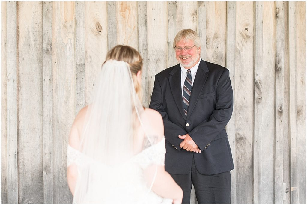 Bride's first look with her dad before wedding at Whippoorwill Hill in Bloomington, Indiana