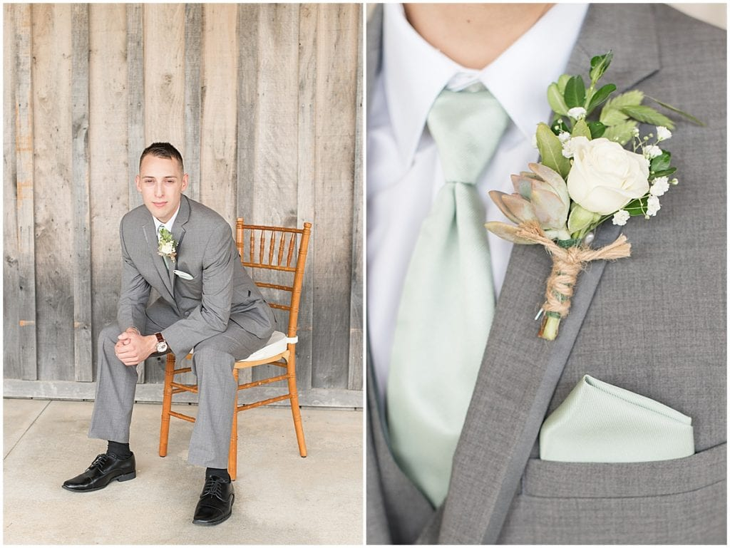 Groom getting ready for wedding at Whippoorwill Hill in Bloomington, Indiana