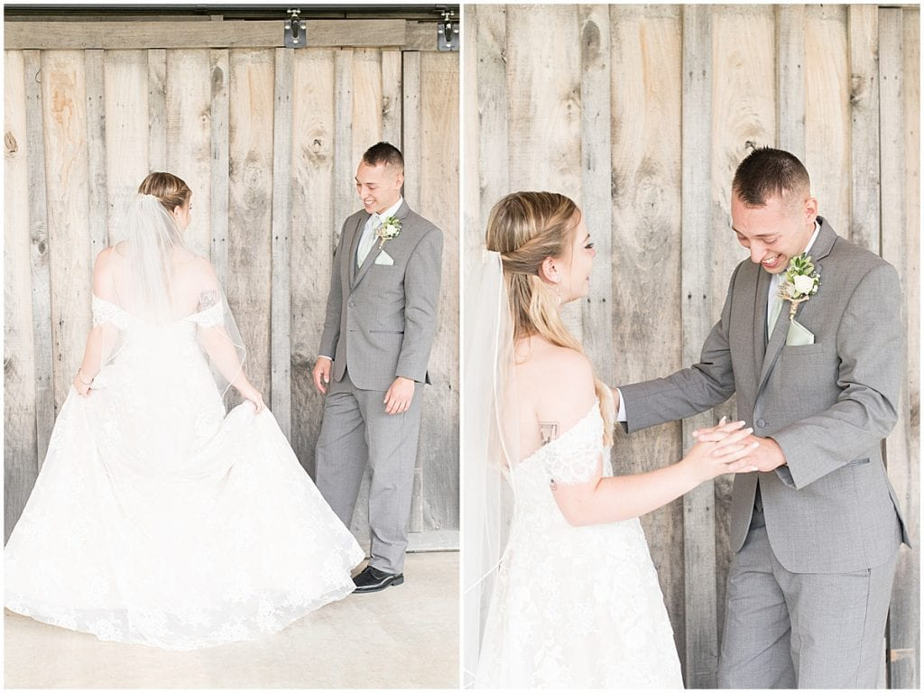 Bride and groom's first look before wedding at Whippoorwill Hill in Bloomington, Indiana