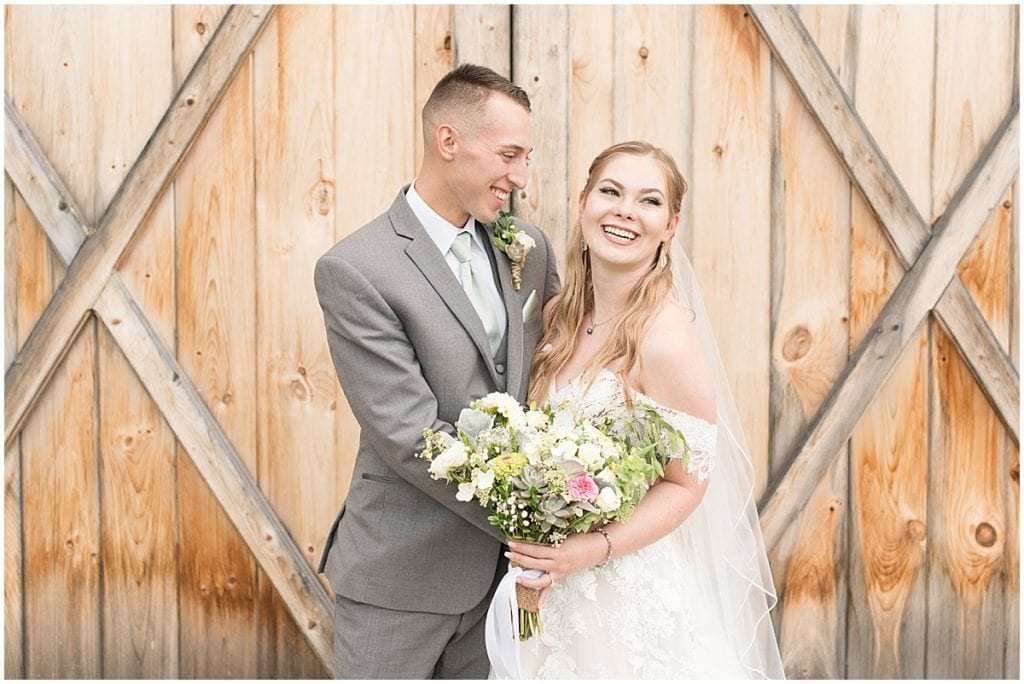 Bride and groom before wedding at Whippoorwill Hill in Bloomington, Indiana