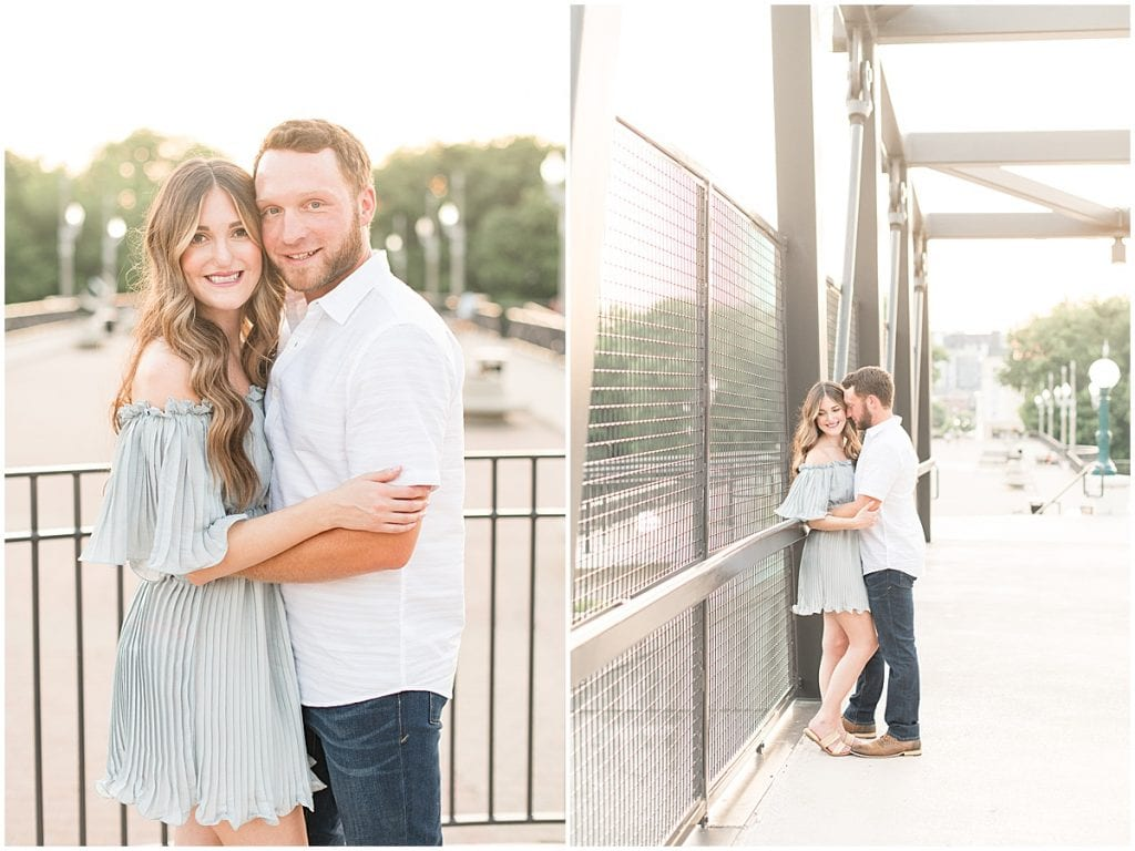 Anniversary photos on the John T Myers Pedestrian Bridge in Lafayette, Indiana
