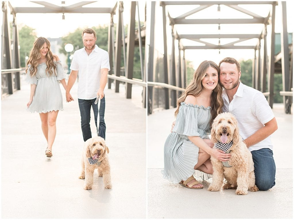 Anniversary photos on the John T Myers Pedestrian Bridge in Lafayette, Indiana with goldendoodle