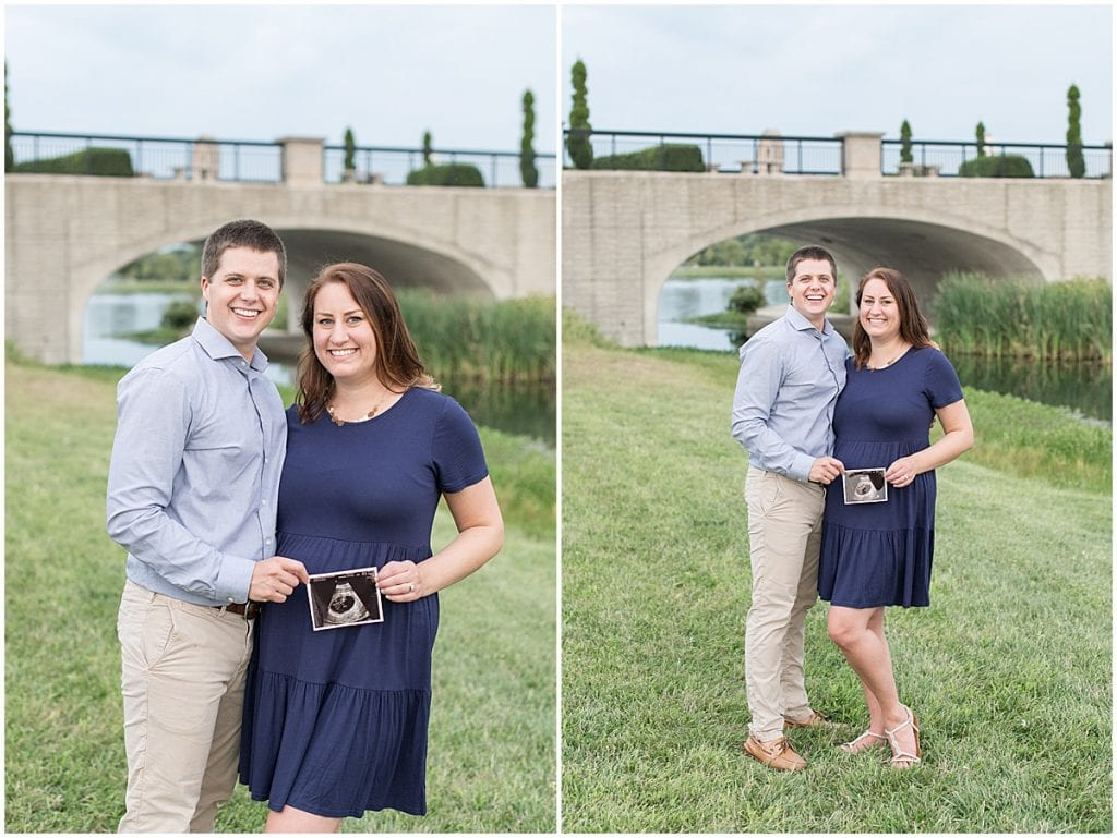 Pregnancy announcement at Coxhall Gardens in Carmel, Indiana