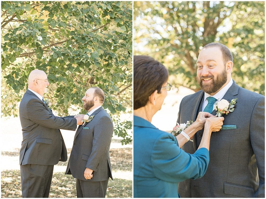 Groom detail shots for intimate wedding at Holliday Park in Indianapolis