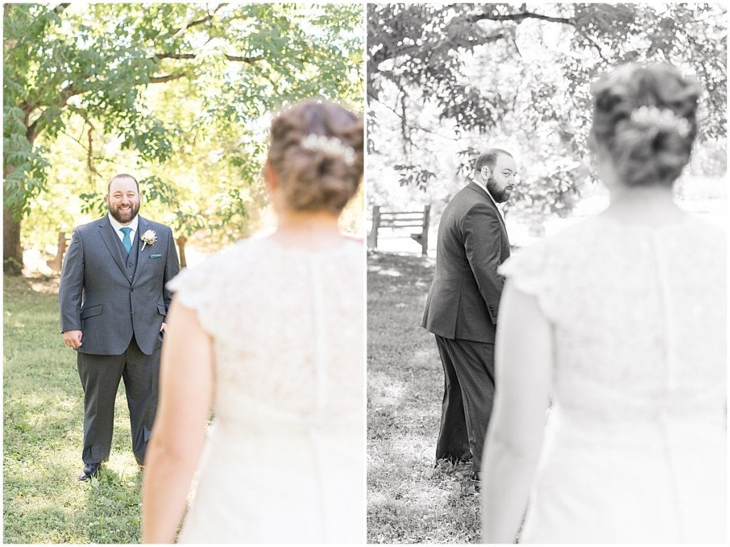 First look in intimate wedding at Holliday Park in Indianapolis