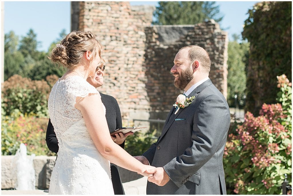 Wedding ceremony for intimate wedding at Holliday Park in Indianapolis