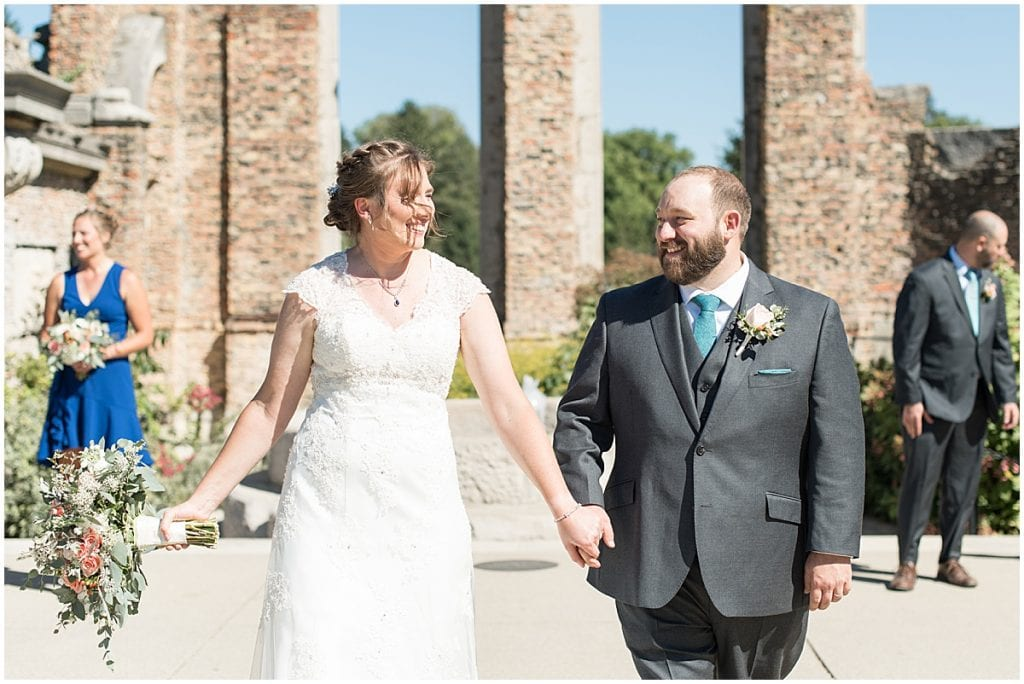 Just married couple in intimate wedding at Holliday Park in Indianapolis
