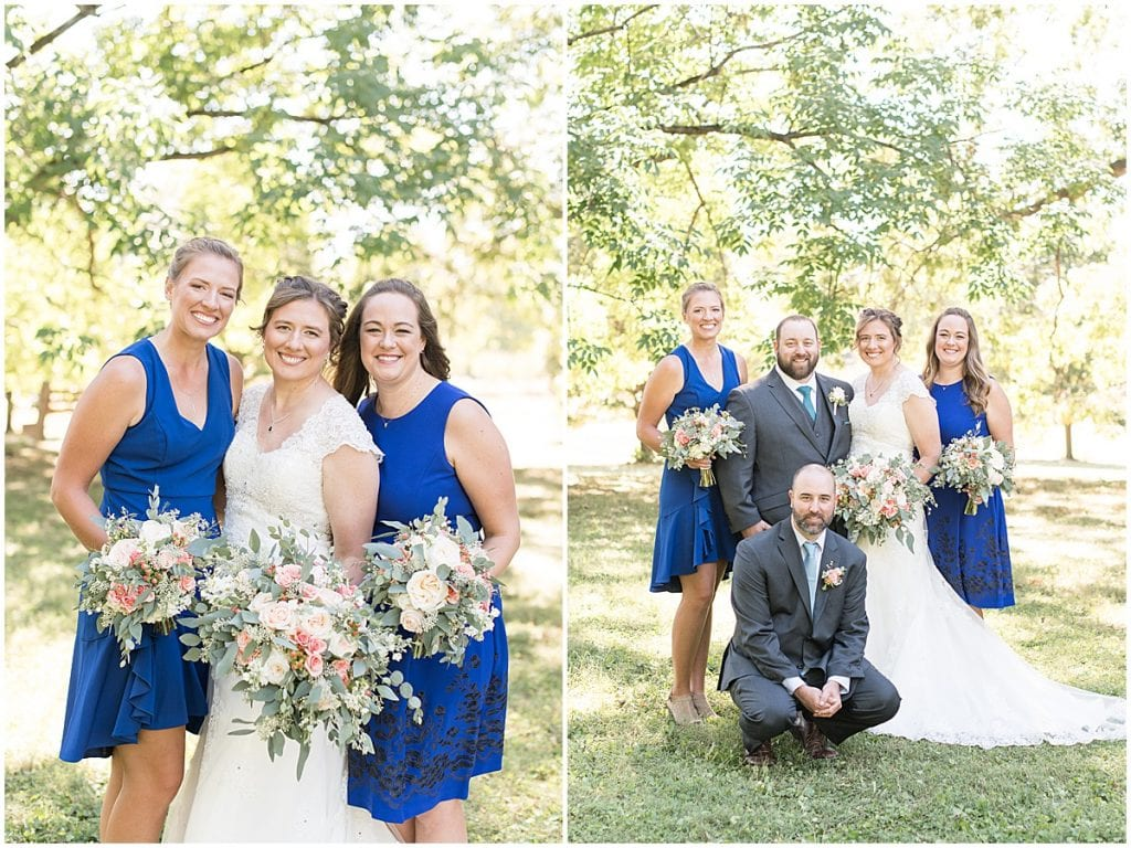 Bridal party photos for intimate wedding at Holliday Park in Indianapolis