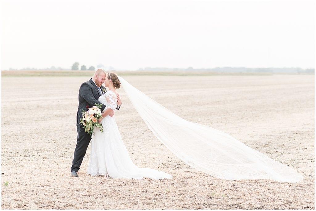 Bride and groom photos at Meadow Springs Manor wedding in Francesville, Indiana
