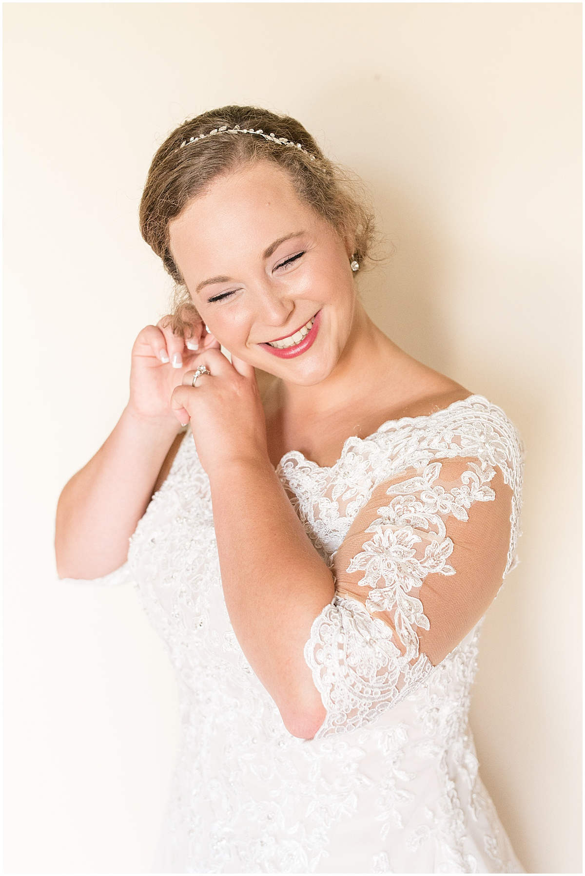 Bride getting ready photos at Meadow Springs Manor wedding in Francesville, Indiana