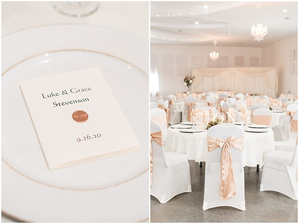 Reception detail photos at Meadow Springs Manor wedding in Francesville, Indiana