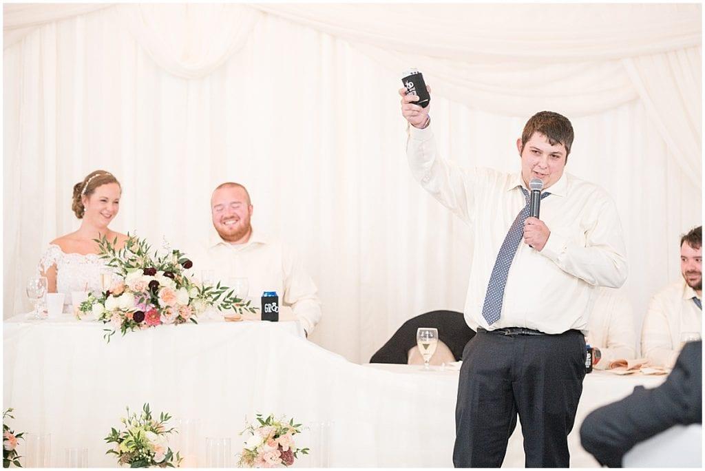 Best man speech photos at Meadow Springs Manor wedding in Francesville, Indiana