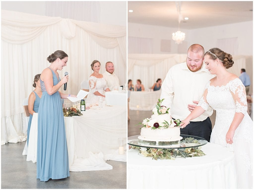 Maid of honor speech photos at Meadow Springs Manor wedding in Francesville, Indiana