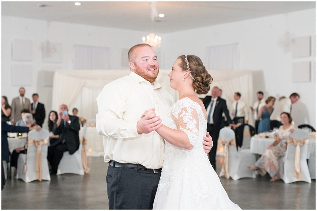 First dance photos at Meadow Springs Manor wedding in Francesville, Indiana